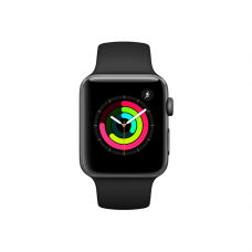 Apple watch 3 38mm Space Gray Aluminum Case with Black Sport Band (MTF02) бу